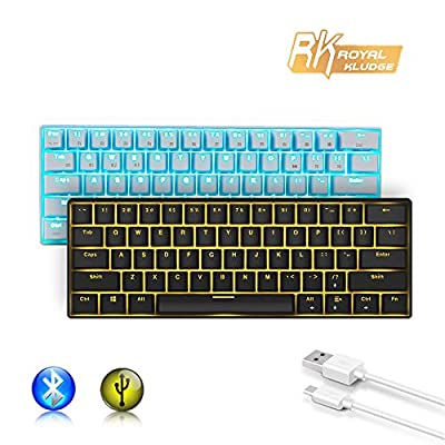 Royal Kludge RK61 Wired/Wireless Bluetooth 3.0 Multi-Device LED Backlit Mechanical Gaming/Office Keyboard for iOS, Android, Windows and Mac with Rechargeable Lithium Battery, Blue Switch