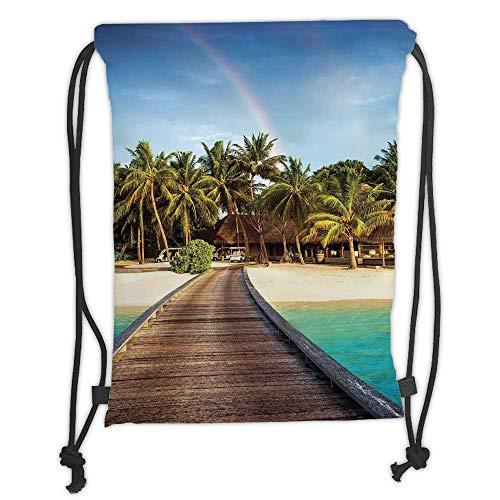 Green Island Resort (LULUZXOA Gym Bag Printed Drawstring Sack Backpacks Bags,Beach,Wooden Bridge to Island Beach Resort with Colorful Rainbow Over Palm Trees,Brown Green Aqua Soft Satin,Th)