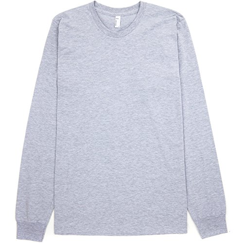 American Apparel Mens Fine Jersey 100% Cotton Long Sleeve T-Shirt Heather Grey