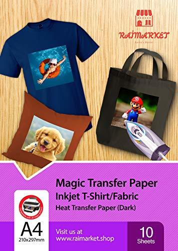 Transferpapier/Bügelpapier/Transferfolie für DUNKLE Textilien/Stoffe von Raimarket | 10 Blatt | A4 Inkjet Bügeleisen auf Papier / T-Shirt-Transfers | Textilefolien | DIY Stoffdruck (10) (Papier Bedruckbare T-shirt)