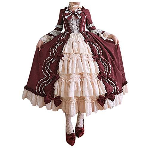 Hochzeit Kostüm Jasmin Prinzessin Kleid - Solike Damen Viktorianisches Rokoko-Kleid, Mittelalter Kleid Lolita Gothic Kleider Kostüm Prinzessin Halloween Weihnachten Party Cosplay Dress