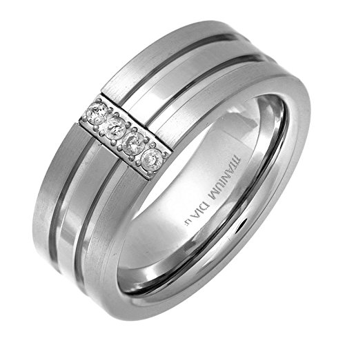 Ring Wedding Black Diamond Herren (Theia Titan Flat Court Form Rund Diamant Pavé Set matt Mitte 8 mm Ring)