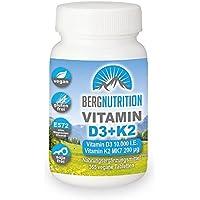 Berg Nutrition K2 MK7 200µg + Vitamin D3 | 10.000 IE | 365 Tabletten | Hochdosiert | 10 Tagesdosis (1 Tablette/10 Tage - entspricht 1.000 IE/Tag)