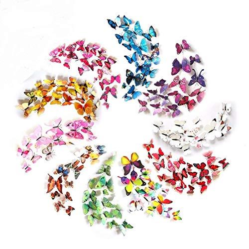 HaimoBurg 120 Piezas 3D Mariposa 10 Couleurs Pegatinas de Pared Etiquetas Engomadas Mariposas Decoración de la Pared Para Hogar Casa Habitación