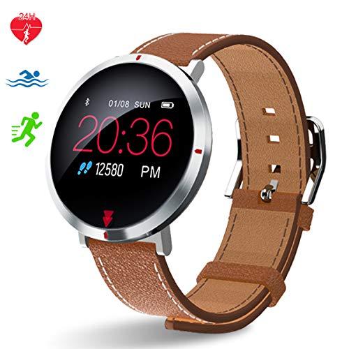 Polywell Fitness-Tracker, Aktivitätstracker mit Herzfrequenz-Monitor und Schlaf-MonitorSchrittzähler und Kalorienzähler für Android und iOS (Brown) (Ruhe-herzfrequenz-monitor Der)