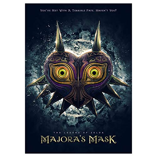 GWD CONCEPT Majoras Maske Metall Poster für Zelda Fans Wandbild mit Klebemagnet 45x32cm -