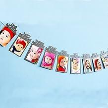 Fontee Baby Portafotos nacimiento infantil 12 meses marco infantil guirnalda de pancartas para el primer cumpleaños