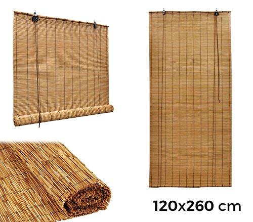 202463 Persiana de bambú resistente a temperatura ambiente con cuerda 120x260cm