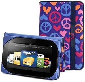 BUILT - Étui pour Kindle Fire - Summer of Love - Bleu indigo (est compatible avec Kindle Fire uniquement)