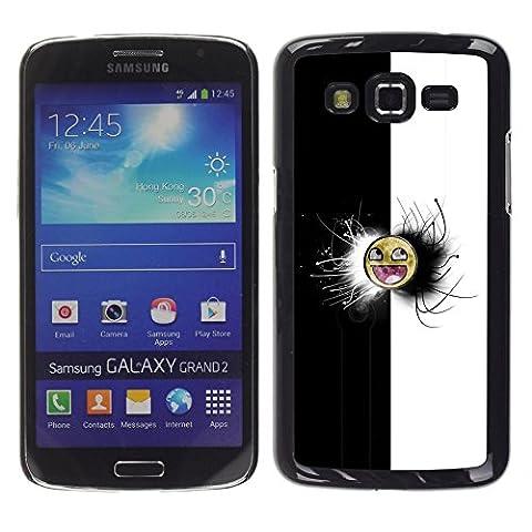 NICE GIFT GOOD PRESENT // Telefon-Kasten Hart Schutzhülle Tasche Hülle HandyHülle New Design Hard Protective Case for Samsung Galaxy Grand 2 / Black & White Awesome Face Meme /