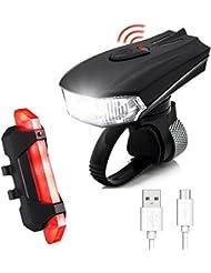 LED Fahradbeleuchtung,CAMTOA 400 LM Sensoren LED Fahrradlampe 5 Licht Modi, 2 USB-Kabel Wiederaufladbare wasserdicht IPX6 Fahrradlampe,Superhelle Frontlicht LED Rücklicht für Radfahren,Bergfahrrad