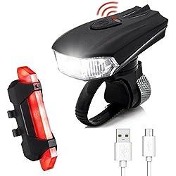 Luces de Bicicleta, SGODDE 400 lm Sensores LED 5 Modos, 2 USB de Cable Recargables, Superbrillantes Bicicleta Luz Frontal para Bicicleta Lámpara Sets Frontal Luz Trasera para Bicicleta, Montaña Bici