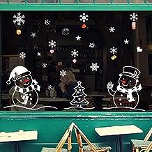 PAOLIAN Navidad Muñeco Extraíble Casa Vinilo Ventana Pared Pegatinas Etiqueta Decoración