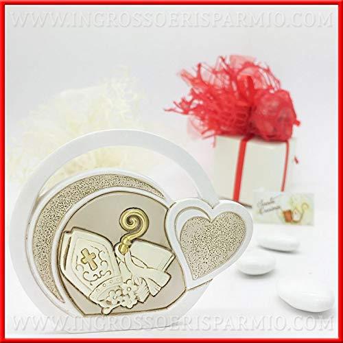 Ingrosso e risparmio quadretto sacro d'appoggio in resina con rappresentazione simboli della cresima bomboniere ragazzo/ragazza (con confezione panna)