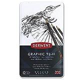 Derwent Graphic - Lápices de grafito blandos (12 unidades, 9B-H, en estuche de metal),...