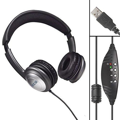 Executive Communication Systems WordSlinger Deluxe Overhead USB Transkription Headset mit Kunstleder Kissen