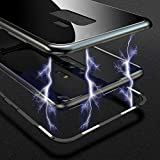 Phone Case, Metal Frame Ultra Thin Slim Magnetic Adsorption Tempered Glass Phone Case for Samsung Galaxy S9/S8 (S9PLUS,Transparent Black)