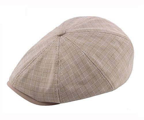 Schiebermütze Herren Baumwolle Newsboy Gatsby Cap Mode Schirmmütze Kappe Achteckige Einstellbare (Khaki) -