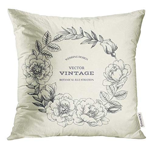 Cupsbags Throw Pillow Cover White Vintage Botanical with Dog Rose Wreath Floral of Wild Briar Flowers and Leaves Wedding Engraving Decorative Pillow Case Home Decor Square 18x18 Inches Pillowcase - Briar Rose Floral