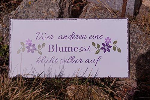 Bo Metall Schild - Wer Anderen eine Blume - 40x20cm Blütenmotiv Spruch Dekoration