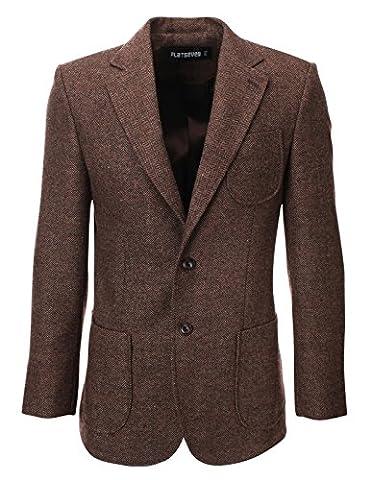Saisons Inc Costume - FLATSEVEN Homme Tweed Laine Blazer Veste avec