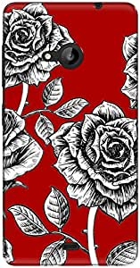 The Racoon Lean printed designer hard back mobile phone case cover for Microsoft Lumia 535. (rose sketc)