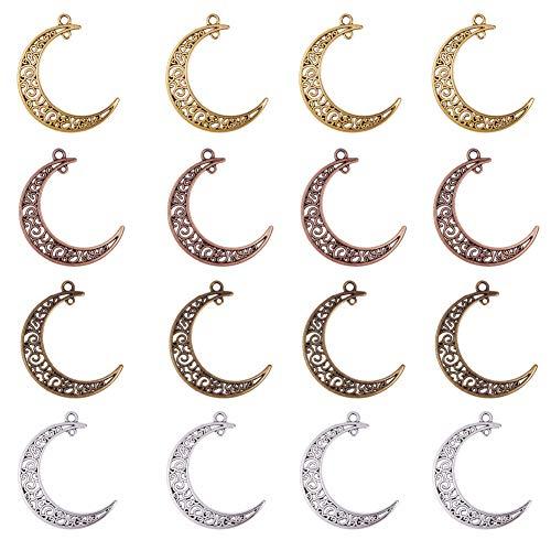 Pandahall 40pcs 4 colori lega di tibetano lega di legami di luna cavi connettori a filigrana ciondola i ciondoli per fare gioielli