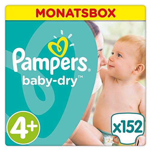 Pampers Baby-Dry 152Windeln, für Atmungsaktive Trockenheit Monatsbox, Gr.4+
