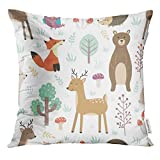 Trsdshorts Throw Pillow Cover Colorful Woodland Forest with Cute Animals Fox Deer Bear Rabbit Hedgehog and Owl Bunny Decorative Pillow Case Home Decor Square 18x18 Inches Pillowcase