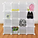LIVIVO ® New Superior Quality Interlocking 16 Pairs Cube Shoe Organizer Rack Storage Shelves Display Stand Comes With the Back Panel - Ideal for Shoes, Can Also Be Used For Other Items Including Handbags, Books, Toys Etc. Easy To Assemble (White)