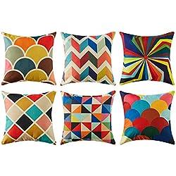 Colorido geométrico algodón lino fundas de cojín para sofá almohadas Home decorativo juego de 6, 45x45cm,Serie