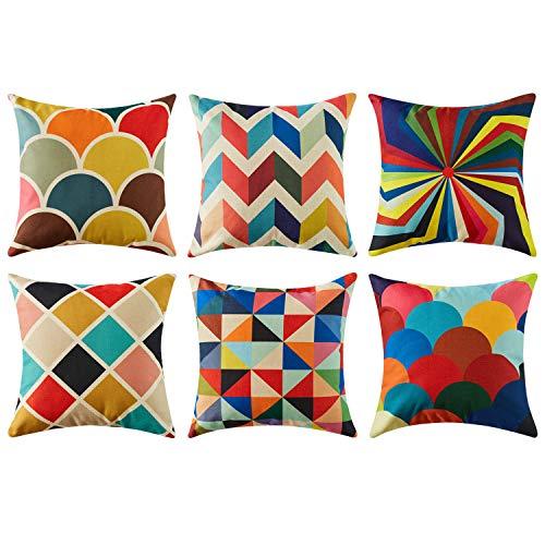 Top finel federe cuscini geometric in cotone lino colorato quadrati decorativi in divano letto sedia set of 6 ,45x45