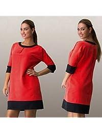 Tongshi Nueva caída de en Europa en collar de la ropa de la Mujer de vestir de manga costura