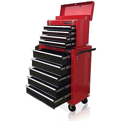 US PRO TOOLS Rosso Nero meccanica degli attrezzi cassetta degli attrezzi Rullo per 9cassetti scorrevoli con cuscinetti a sfera