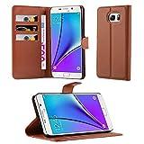 Cadorabo Hülle kompatibel mit Samsung Galaxy Note 5 Hülle in Schoko BRAUN Handyhülle mit Kartenfach und Standfunktion Schutzhülle Etui Tasche