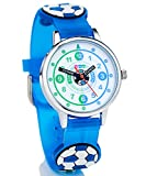 HAPIDS Lernuhr | Zeiger Armbanduhr Kinderuhr | Uhr zum Uhrzeit lesen lernen für Kinder | Jungenuhr mit Fußball-Motiv | Farbe: Blau