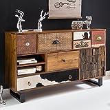 FineBuy Sideboard KANPUR 120 x 76 x 35 cm Massiv Holz Mango Natur Anrichte | Landhaus-Stil Kommode mit Schubladen & Türen | Flur Schrank Standschrank