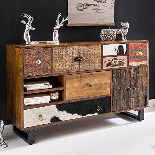 FineBuy Sideboard Kanpur 120 x 76 x 35 cm Massiv Holz Mango Natur Anrichte   Landhaus-Stil Kommode mit Schubladen & Türen   Flur Schrank Standschrank -
