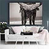 Geiqianjiumai Schwarz-Weiß-Buffalo Lake Nakuru Abstrakte Tiere auf Leinwand Poster und Drucke Skandinavische Wohnzimmer Wandbild Rahmenlose Malerei 60x90cm