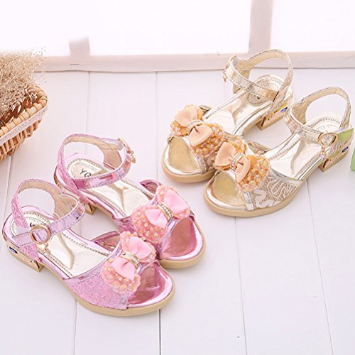 Zhhlinyuan Sweet Girl Bowknot Princess Sandals Summer Kids Non-slip Beach Shoes 527 Champagne