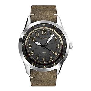 s.Oliver Unisex Erwachsene Analog Quarz Uhr mit Leder Armband SO-3575-LQ