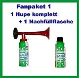 1 Marco Druckluftfanfare 1 Marco Nachfüllflasche--kein billiges China Produkt---Fanfare Tröte Gashupe Gaströte