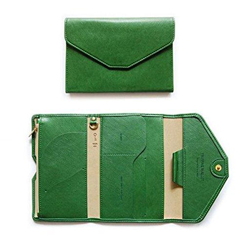 gossipboy Multifunktions mulit-purpose PU Leder RFID-blockierender Travel Passport Wallet Tri-Fold Dokument ID Card Organizer Halter, grün (Wallet Grün Tri-fold)