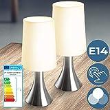 Tischlampe mit Dimmer Touchfunktion - EEK: A++ bis E, 1er oder 2er Set, E14, mit Berührungssensor - Nachttischlampe,Tischleuchte, Nachttischleuchte - für Wohnzimmer, Schlafzimmer, Kinderzimmer (2er)