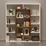 Homidea Venus Bücherregal - Standregal - Büroregal - Raumteiler für Wohnzimmer/Büro in Modernem Design (Weiß/Nussbaum)