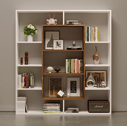 VENUS Bücherregal - Standregal - Büroregal - Raumteiler für Wohnzimmer / Büro in modernem Design (Weiß / Nussbaum)