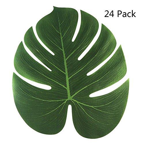 (Aytai 24Pack 13.8x11.4Inch künstliche weiche tropische Palme Blätter für hawaiianische Luau Party Dekoration, DIY Palme Blatt Platz Matte und Tischläufer, Dschungel Strand Thema Lieferung)