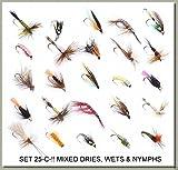 25ohne Widerhaken Fliegenfischen Fliegen Dry Wet Nymphe Signalempfänger 25-c- bar-bless–12