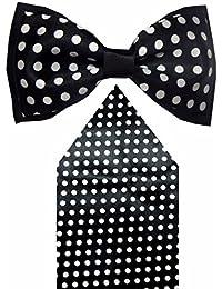 Navaksha Shiny Black Polyster Dots Design Bow Tie With Pocket Square