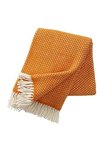 Couverture en laine d'agneau -Polka- orange, blanc, 130x200 cm (Klippan)